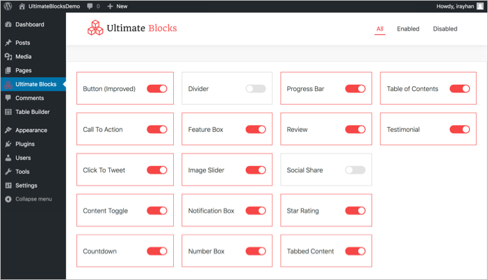 Enable or Disable Blocks