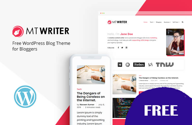 MT Writer - Free WordPress Blog Theme